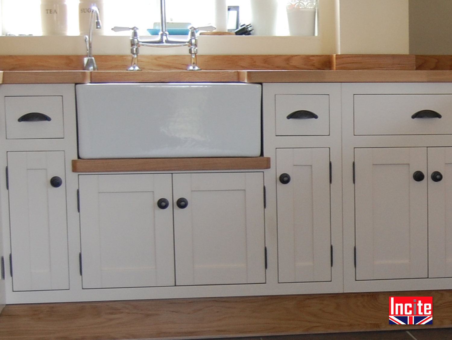 Bespoke handmade painted shades of grey and oak kitchen for Bespoke kitchen cabinets