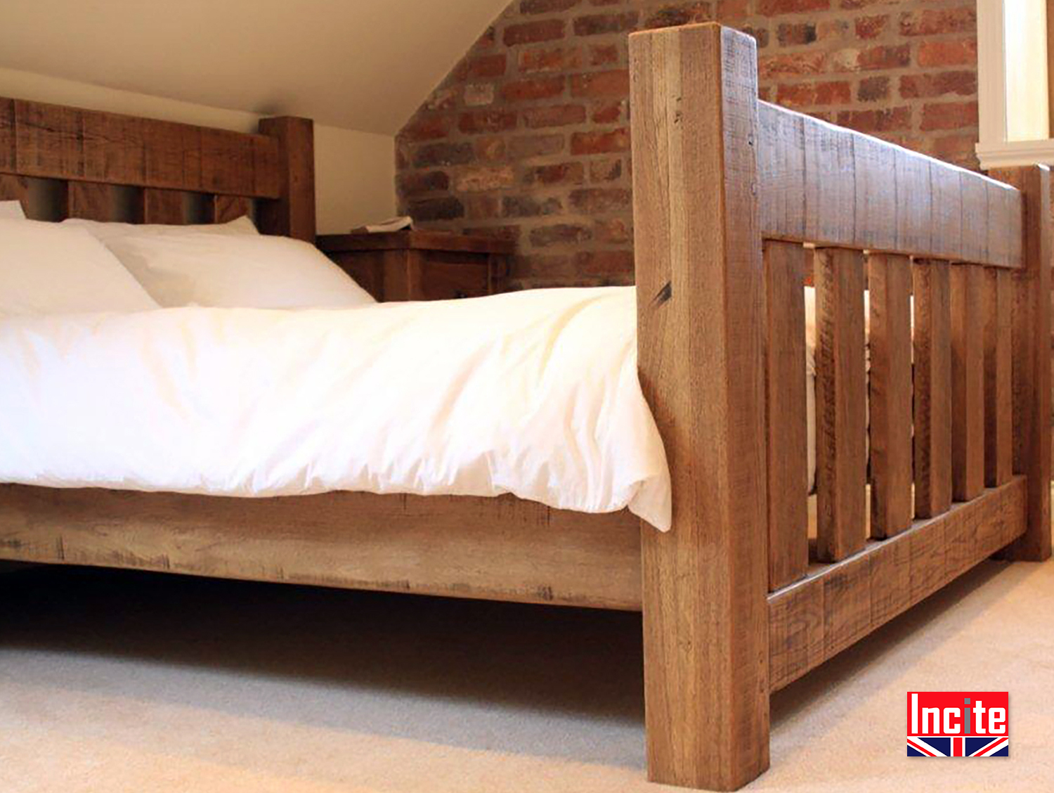 Custom Handmade Rustic Solid Oak Slat Bed By Incite Derby