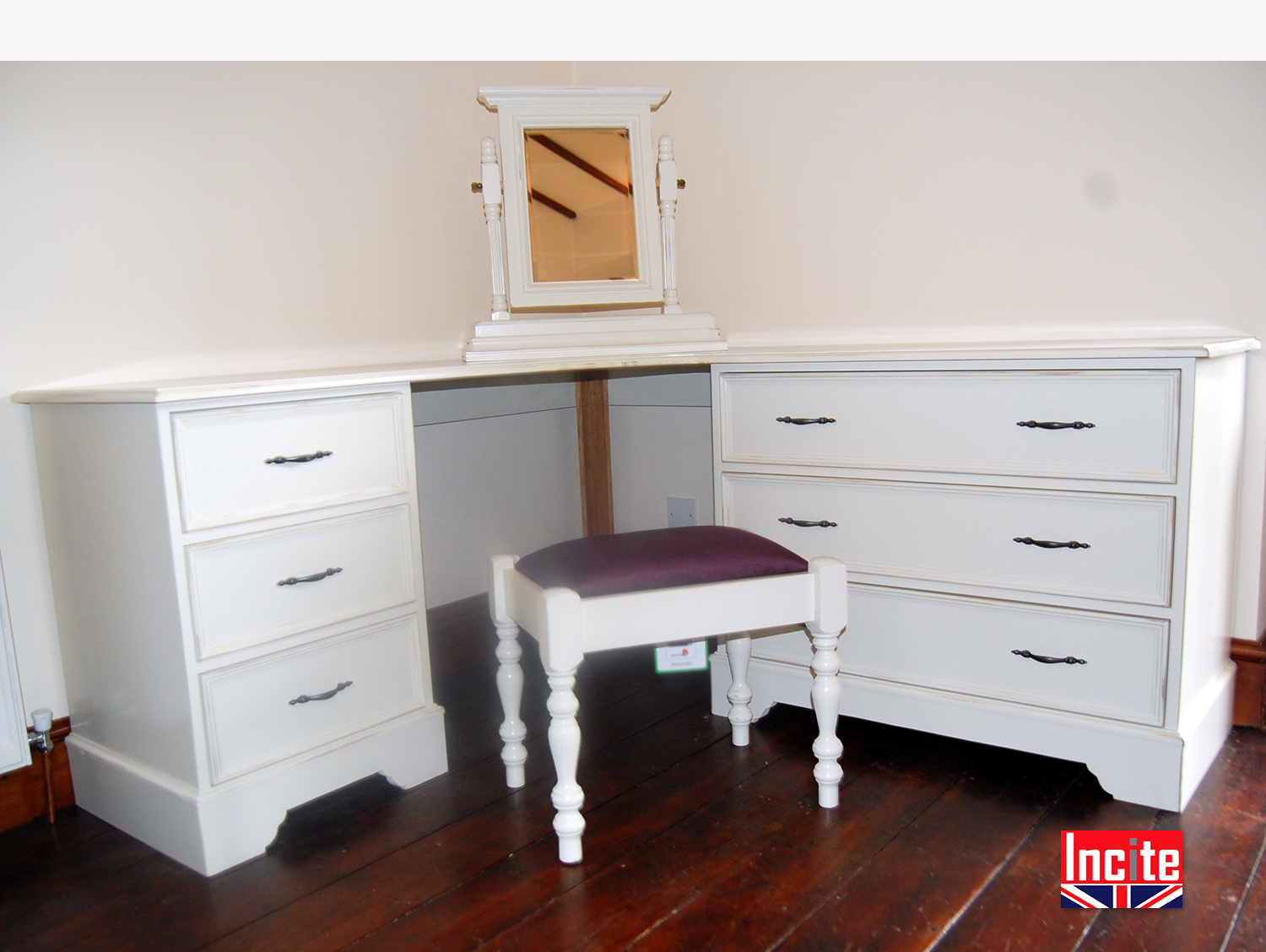 Custom made painted corner dressing table by incite derby for Corner table for bedroom