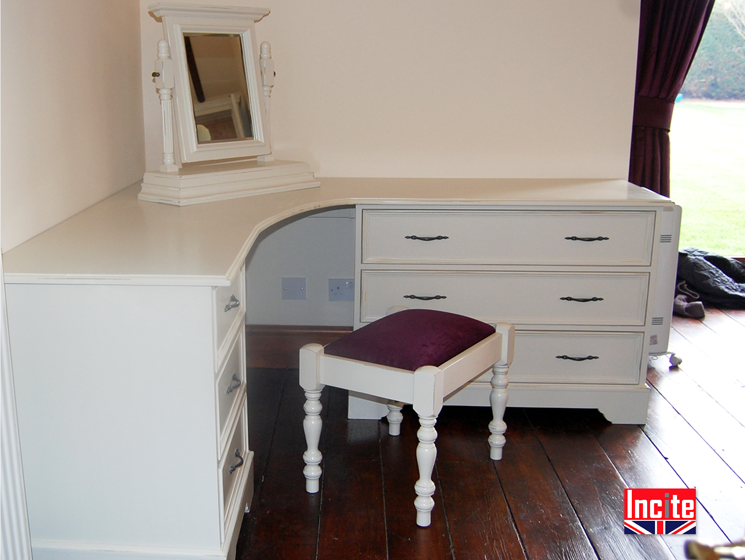 Custom made painted corner dressing table by incite derby Corner dressing table