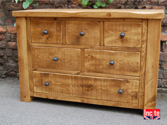 British Handmade to Measure Wooden Rustic Plank Pine Bespoke Custom Made Chests of Drawers by Incite Interiors, Draycott, Derbyshirehen compared