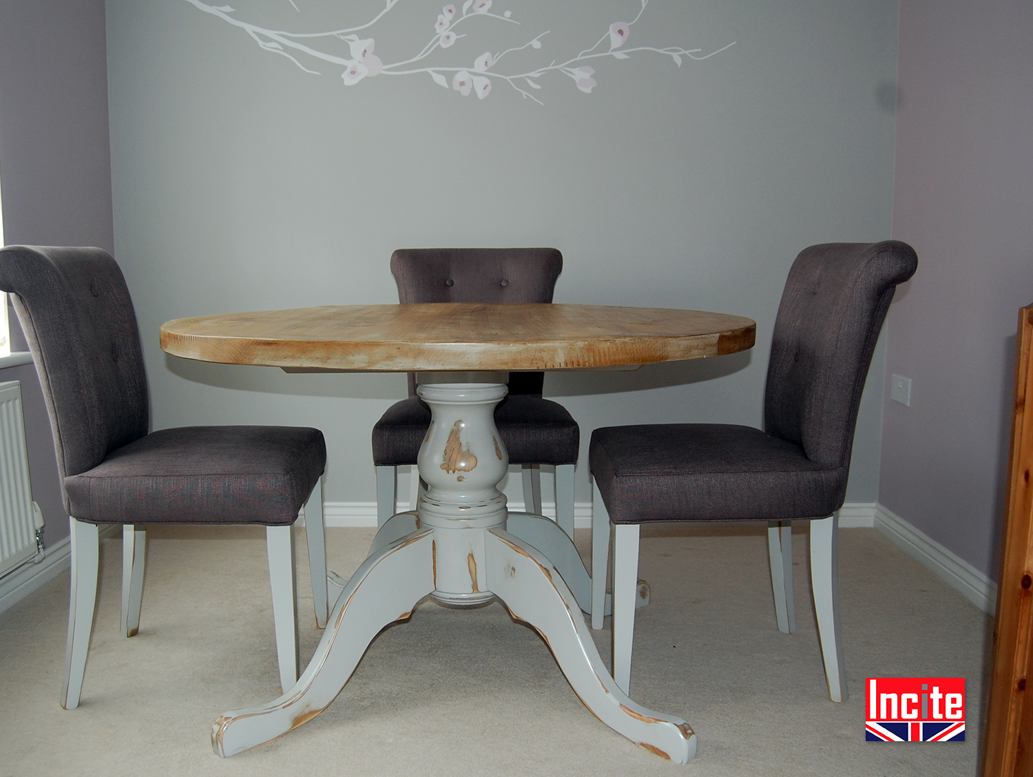 Distressed painted and pine round tables by incite derby - Painted dining tables distressed ...