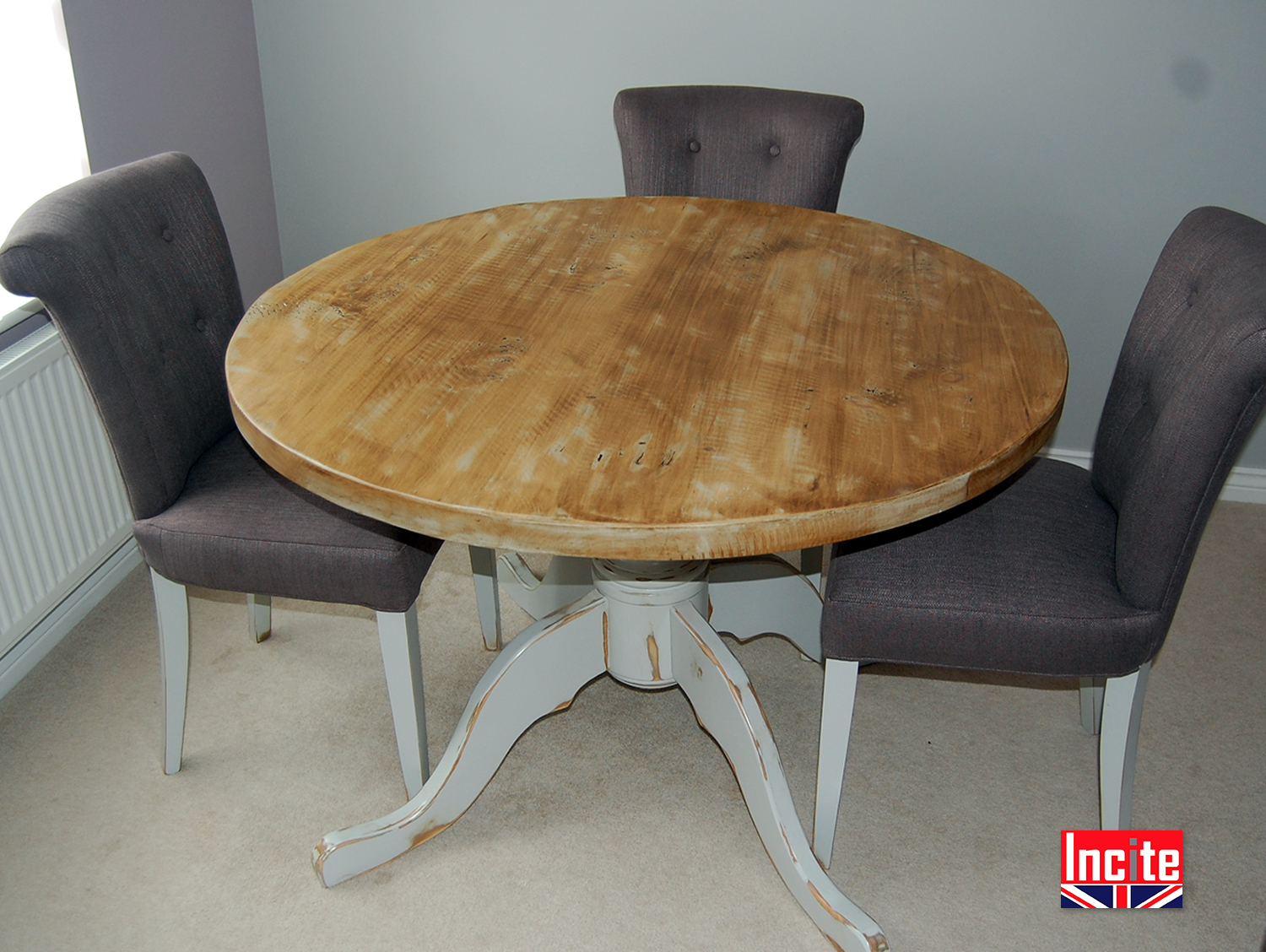 Distressed painted and pine round tables by incite derby for Painted round dining table and chairs
