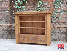 British Handmade Rustic Chunky Plank Pine Bookcase above 2 Small Drawers By Incite Interiors Derbyshire, Specialises In Solid Wooden Bedroom, Lounge,  Dining Room, Hall, And office Furniture, Oak , Beech, Walnut, Pine And Painted Wood Furniture