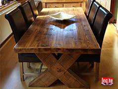 Custom Made Rustic Plank Pine Wooden Dining Furniture handmade to order to your specifications,15 Year Guarantee by Incite Interiors Derby