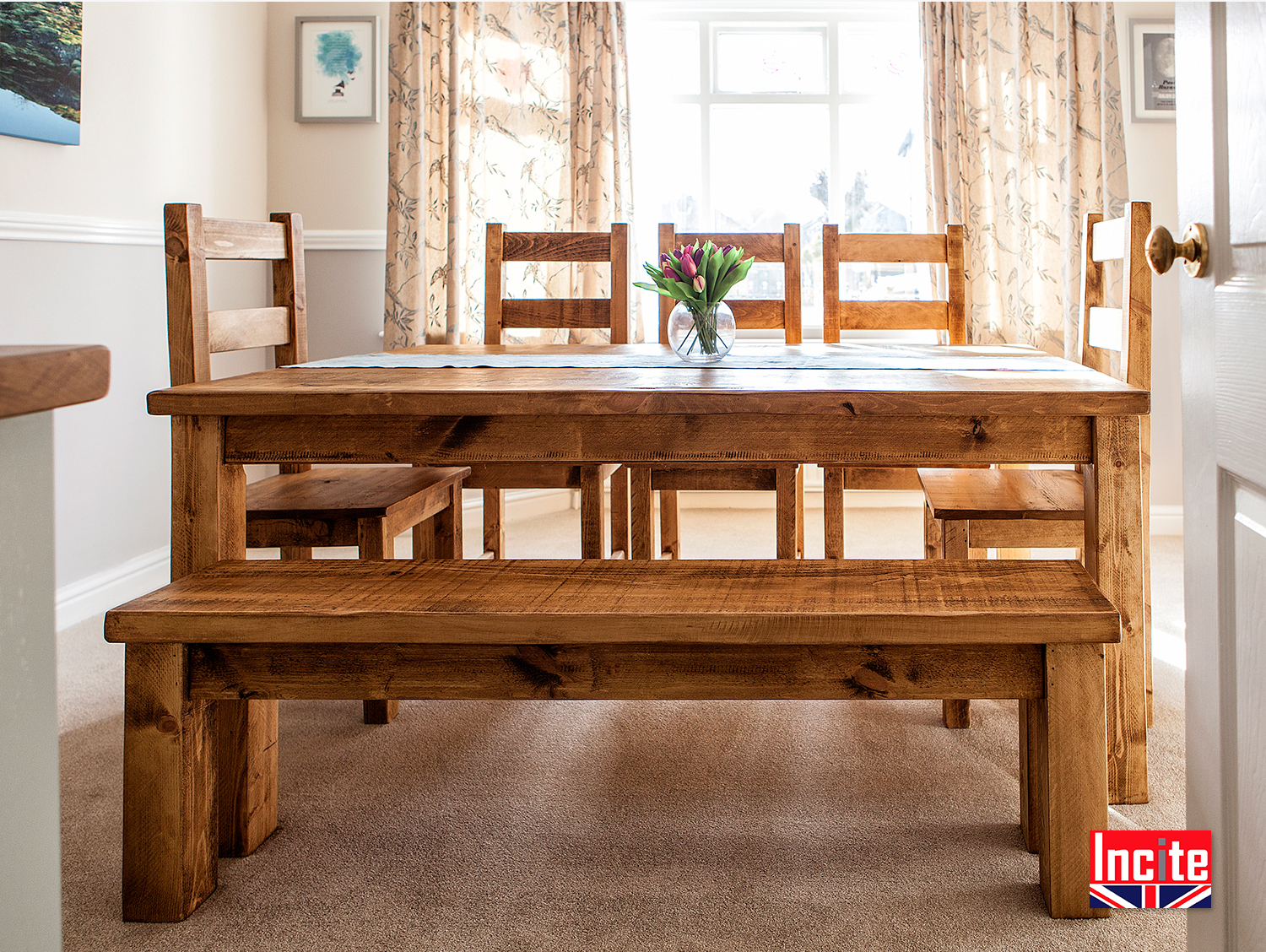 Farmhouse Kitchen Tables Uk Plank Wood Farmhouse Kitchen Table Handcrafted By Incite