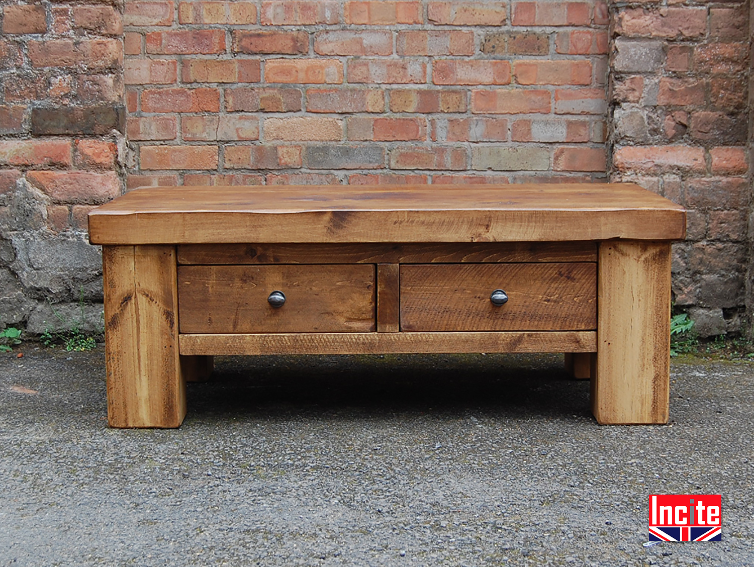 Plank Pine Coffee Table With Drawers