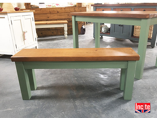 Rustic Solid Plank Pine and Painted leg Bench