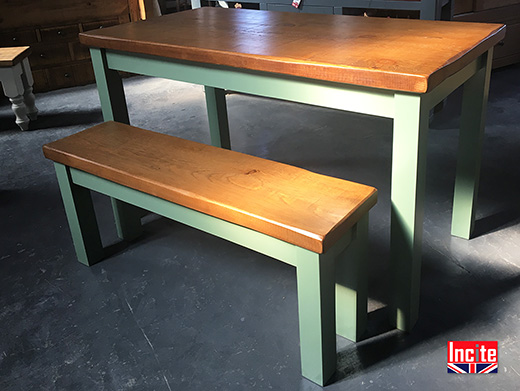 Rustic Pine Table with Painted Legs