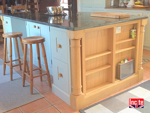 Made to Measure French Gray Painted Oak Kitchen Island