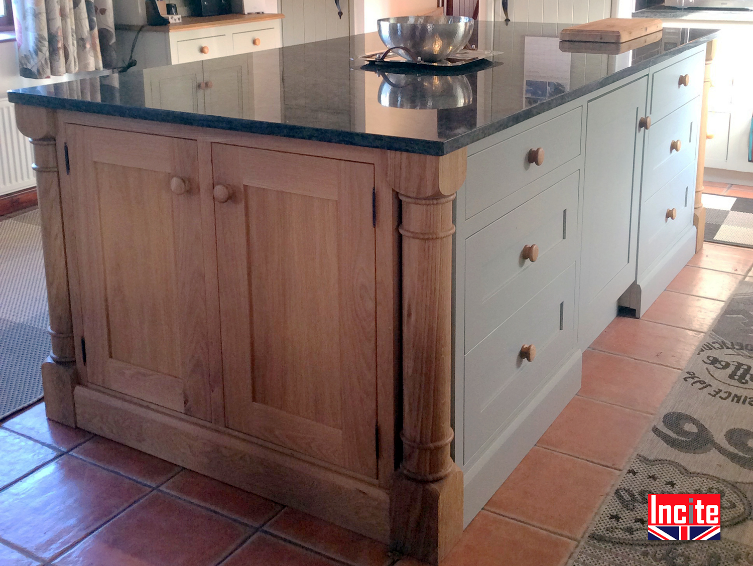 French Gray Painted Oak Kitchen Island Incite Interiors