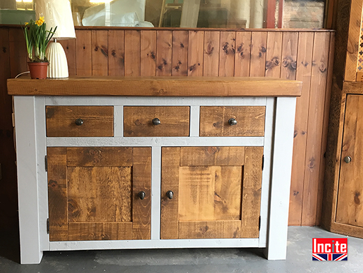 Chunky Painted and Plank Pine Sideboard