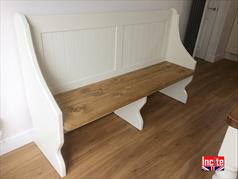 Handcrafted Painted and Oak Pew Bench