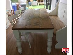 Painted Turned Leg Plank Pine Table