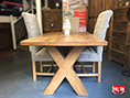 Solid Wooden Rustic Crossed Leg Table