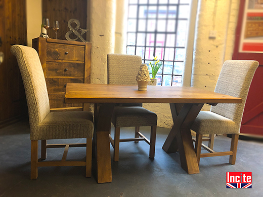Solid Wood Plank Pine Crossed Leg Table