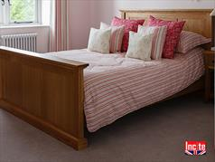 British Handmade Bespoke Oak Panelled Bed By Incite Interiors in Derbyshire, Incite Interiors Specialise In Making Oak, Walnut, Beech,Pine And Painted Bedroom , Dining Room, Lounge, Kitchen, Bathroom And Hall Furniture