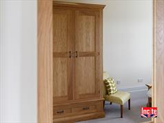 Bespoke Oiled Oak Combination Wardrobes - hanging, shelves and drawer