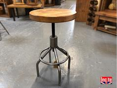 Industrial Swivel Stool With Plank Pine Top