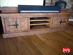 Plank Rustic Pine Wide and Low Television Cabinet