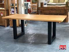Industrial dining table solid oak top with black steel coated legs
