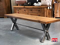 X - Frame Plank Pine Industrial Bench