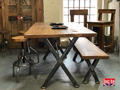 x frame plank pine top industrial dining table metal legged