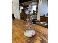 Clear Glass Christmas Tree With Red Berries