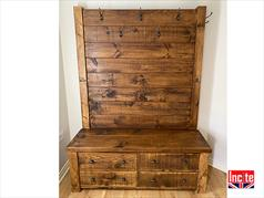Rustic Plank Pine Hallway Drawers and Coat Stand Cabinet