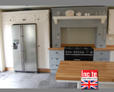 Handmade to Measure Kitchen By Incite Interiors Derbyshire Pavilion Gray Painted American Fridge Unit and Manor House Gray Painted Range Cooker Unit