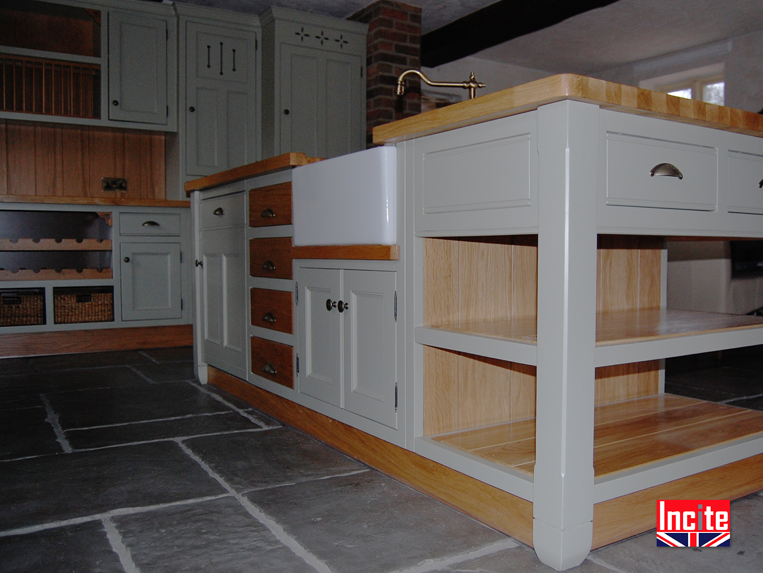 Custom made kitchen units painted with oak trim for Fitted kitchen dresser unit