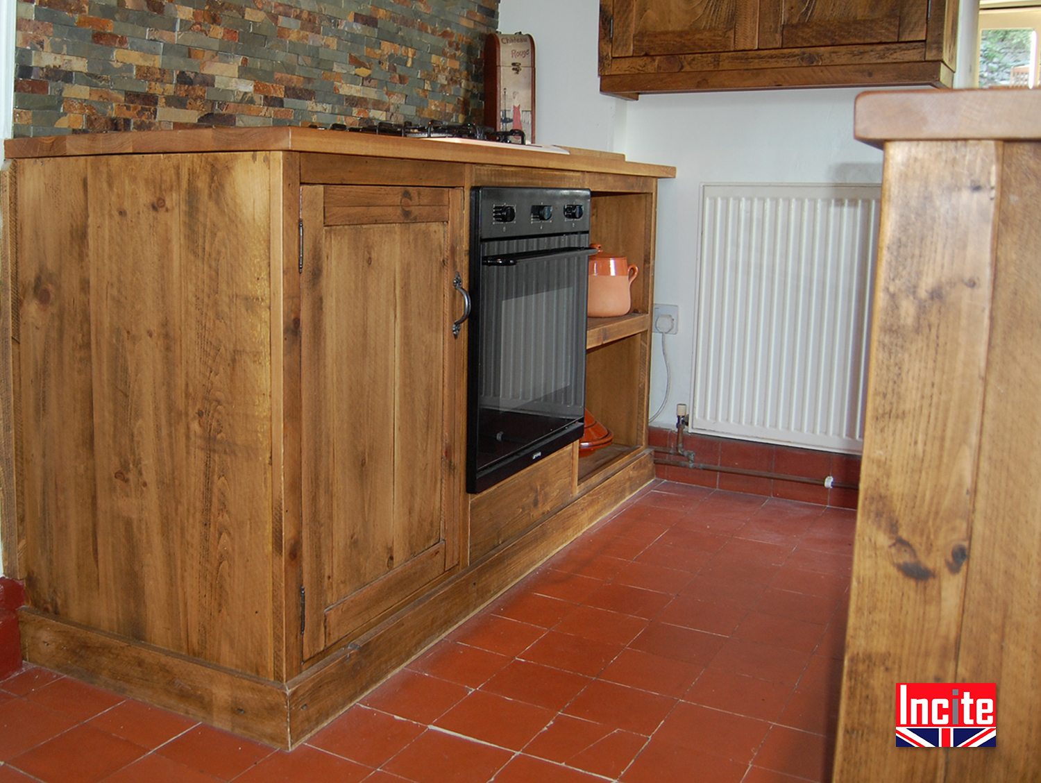 Custom made country rustic pine and oak fitted kitchen for Oak fitted kitchen