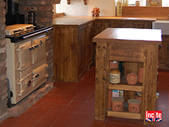 Derbyshire Custom Made Solid Oak Work Surfaces Upon The Rustic Plank Pine Kitchen Units By Incite Interiors
