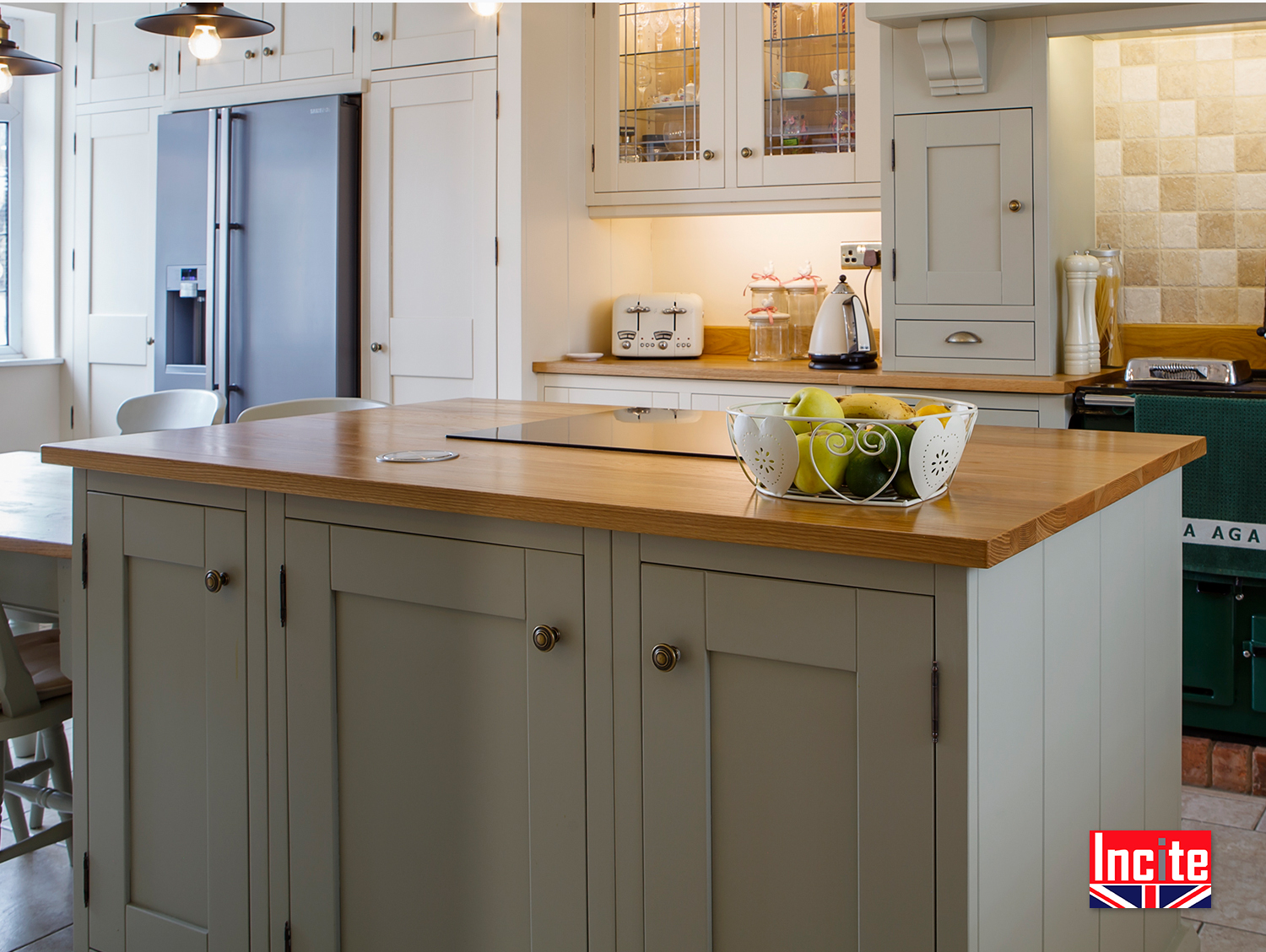Custom Made In Derbyshire Painted Kitchen Island By Incite