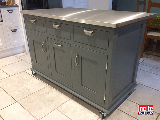 Custom Made Mobile Painted Kitchen Island