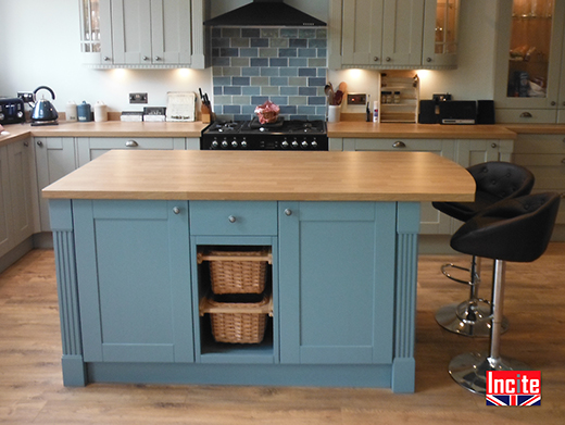 Bespoke Blue Painted and Oak Kitchen Island