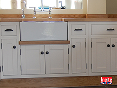 Custom Handmade Bespoke Kitchen By Incite Interiors Of Derbyshire Close Up Showing The Shaker Style Of Doors and Drawers