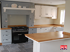 Painted Shades of Grey and Oak Kitchen