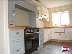 Bespoke Handmade Painted Shades of Grey And Oak Kitchen