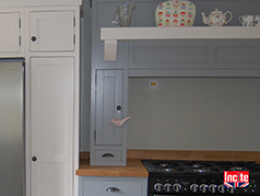 Custom Made Bespoke Kitchen By Incite Interiors Of Derby Manor House Gray Range Cooker Unit Contrasting The Pavilion Gray Painted Run Of Corner Units