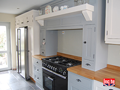 Made To Measure Custom Bespoke Kitchen By Incite Interiors Derby Painted Shades Of Grey Kitchen Fridge Freezer Fitted Units
