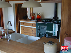 Bespoke Painted With Oak Work Surface End Island Sink Unit
