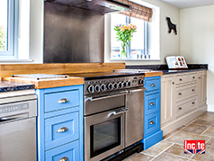 Two Tone Painted Bespoke Handmade Kitchen by Incite Interiors Derby. Hand Painted in Farrow and Ball Cooks Blue and Oxford Stone.