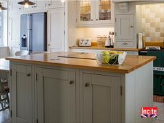 Handmade Painted Kitchen Island with Solid Natural Oak Work Surface