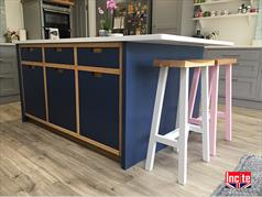 Bespoke Derbyshire Handmade Painted and Oak Kitchen Island Cabinet