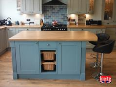British Hand Painted Custom Made Kitchen Island, Bespoke Painted Kitchen Furniture Handmade By Incite Interiors in our Derbyshire based Mill Workshops