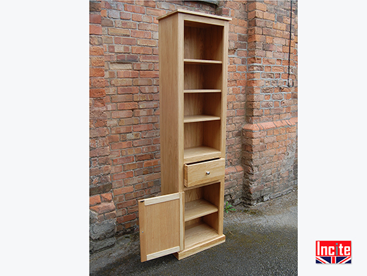 Oak Tall Slim Bookcase Cupboard