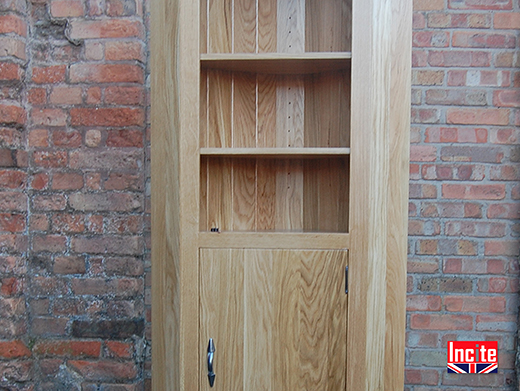 Oak Corner Shelf and Cupboard Cabinet