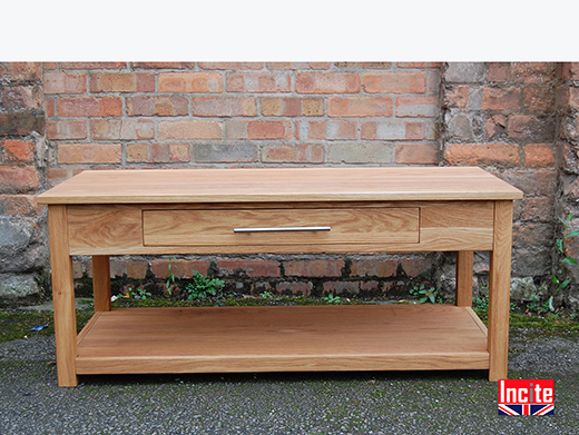 Oak Coffee Table With Side Drawer