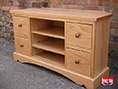 Oak Television Cabinet with Drawers